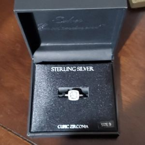 Princess cut engagement sterling ring